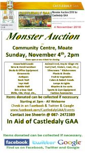 Castledaly GAA Monster Auction fundraiser on Sunday November 4th at 2pm in Moate Community Centre. @ Moate Community Centre, | Athlone | County Westmeath | Ireland